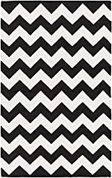 Black Rug Contemporary Design 8-Foot x 10-Foot Hand-Made Chevron Flatwoven Carpet