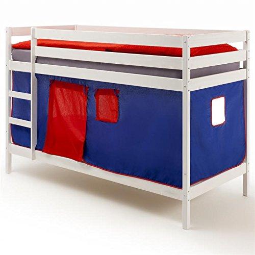 Lits superposés en pin lasuré blanc FELIX avec rideaux bleu/rouge