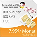 DeutschlandSIM SMART Special 1000 [SIM, Micro-SIM und Nano-SIM] monatlich kündbar (1 GB Daten-Flat, 100 Frei-Minuten, 100 Frei-SMS, 7,95 Euro/Monat, 15ct Folgeminutenpreis) o2-Netz