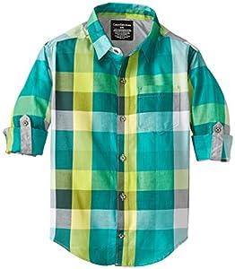 Calvin Klein Big Boys' CK Long Sleeve Plaid Rollup Shirt, Asteroid, Large