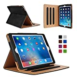 iPad Air 2 Case - Leather Stand Folio Case Cover for Apple iPad Air 2 Case with Multiple Viewing Angles, Document Card Pocket (Black)