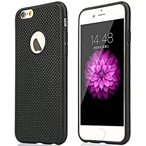O4U Black Heat Dissipation Hollow Thin Soft TPU Back Case Cover for Apple Iphone 6 Plus - Black