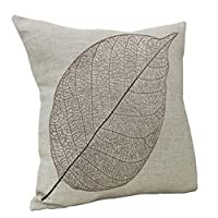 "Goy Cotton Linen Square Decorative Throw Pillow Case Sofa Cushion Cover 18""*18"" Leaf from HOSL"