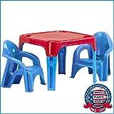 テーブルチェアーセット子供用2人用机ブルーアメリカンプラスチックトイズ13650 [並行輸入品]
