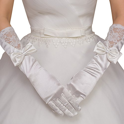 JoyVany Satin Long Fingered Wedding Gloves 2016 Lace Wedding Gloves with Bowknot Ivory