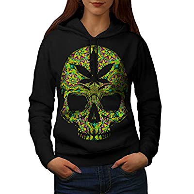 Cannabis Skull Head Pot Skeleton Women NEW Black S-2XL Hoodie | Wellcoda