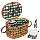 Household Essentials Woven Willow Picnic Basket, Oval Shaped, Fully Lined, Service for 4
