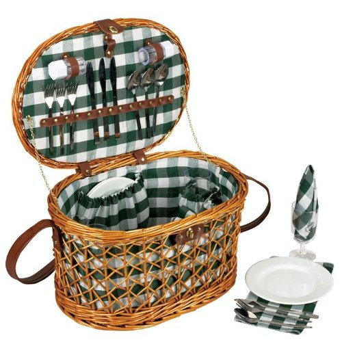 Find Cheap Household Essentials Woven Willow Picnic Basket, Oval Shaped, Fully Lined, Service for 4