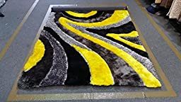 Yellow Gray Black Shaggy Shag Area Rug 8x10 Curve Modern Contemporary Design High End Designer Quality Flokati High Pile Soft Iridescent Sheen Ultra Plush Living room Bedroom 3030