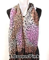 Tie-dyed Leopard Ladies Viscose Scarf, 4 Brown Pink