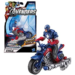 """Hasbro Year 2011 Marvel Avengers Battle Chargers Series """"Pull Back and Release"""" 5 Inch Long Vehicle Set - FURYFIRE ASSAULT CYCLE with Missile Launcher, 1 Missile and Captain America Action Figure"""