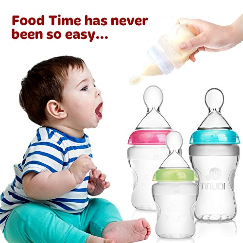 Silicone baby bottles, set of 3anti-colic baby bottles, 100% BPA free new silicone medical grade quality.Masmuki's breast feeding bottles are finally the bottles that give the breast.ideal baby gift