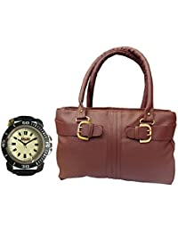 Arc HnH Women HandBag + Watch Combo - Buckle Maroon Handbag + Sporty Black Watch