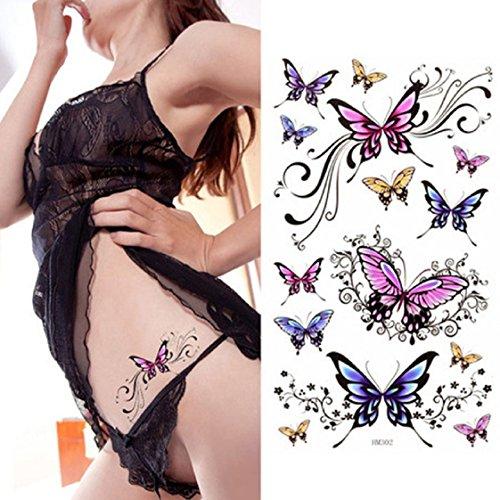 Vovotrade Mode Beau Autocollants Papillon de tatouage temporaire étanche