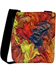 Snoogg Background Made Of Red Maple Leaves Womens Carry Around Cross Body Tote Handbag Sling Bags