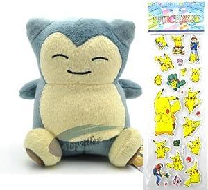 "Pokemon Plush Toy - Snorlax Doll Around 15cm 6"" + Pokemon Sticker"