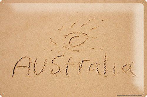 Blechschild Jorgensen Fotografie Foto Bilder Strand Sand Schrift Australien Sonne 20x30 cm
