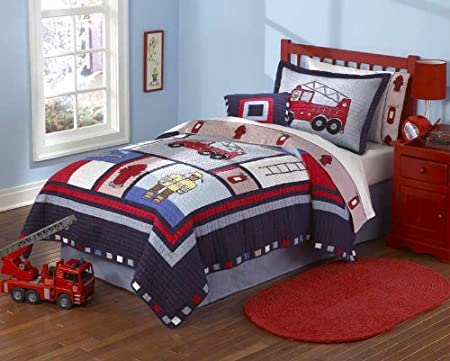 Fireman Fire Truck Kids Boys Quilt Bedding