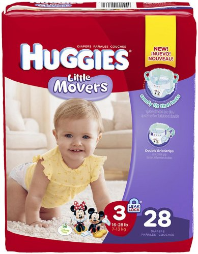 Huggies Little Movers Diapers - Size 3 - 28 ct - 1