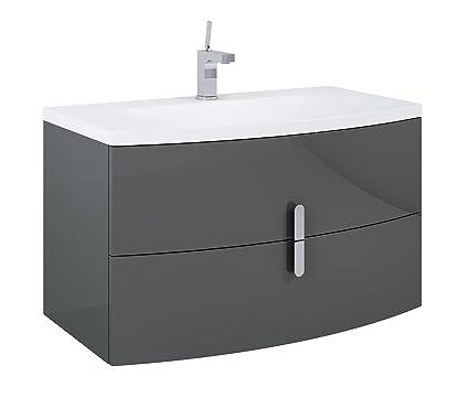 Blu mobiletto lavabo in ceramica bianco lavello bagno con montaggio a parete, lucido