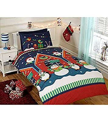 Children's Christmas Santa & Snowmen scenery Duvet Set SINGLE BED
