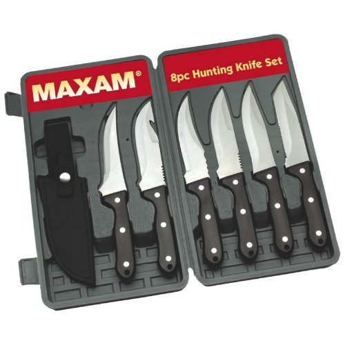 Maxam® 8pc Stainless Steel Hunting / Fishing Knife Set