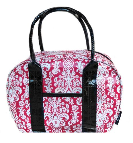 Two Lumps of Sugar Bowler Lunch Bag, Mini, Damask Red/White - 1