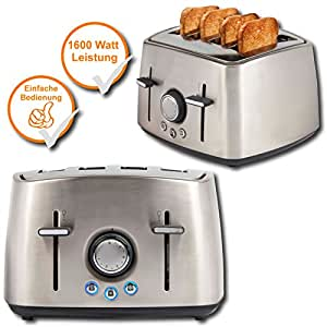 design edelstahl toaster 4 scheiben toaster mit 1600watt leistung f r schnellen. Black Bedroom Furniture Sets. Home Design Ideas