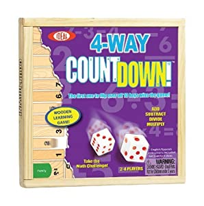 POOF-Slinky 0C241 Ideal 4-Way CountDown Wooden Mathematics Learning Game with Sliding Storage Cover by Ideal TOY (English Manual)