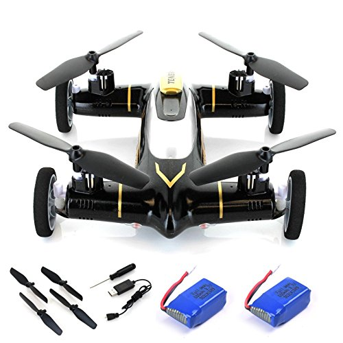 Cheerwing® Black Syma X9 Flying Quadcopter Car 2.4Ghz 4CH RC Quadcopter Drone Car + 2 Extra Batteries - Ship from USA