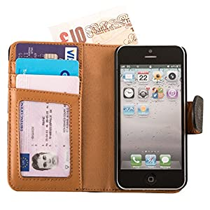 Fonerize Real Leather Wallet Cover Case with Card Holder and Strap for iPhone 5/5S - Black and Tan