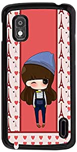 PrintVisa Cartoon pattern Girl Case Cover for LG Nexus 4