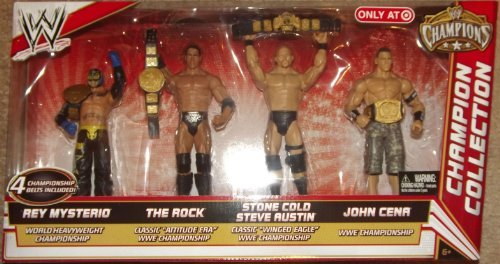 Mattel-WWE-Wrestling-Exclusive-Champion-Collection-Action-Figure-4-Pack-Rey-Mysterio-The-Rock-Steve-Austin-John-Cena-4-Championship-Belts