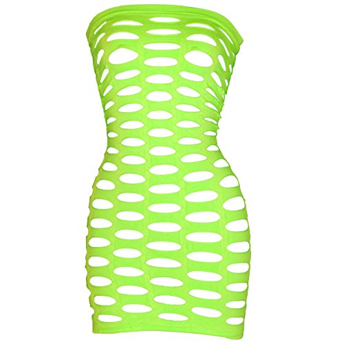 LoveFifi Women's Black Light Neon Queen Tube Dress - One Size - Neon Green
