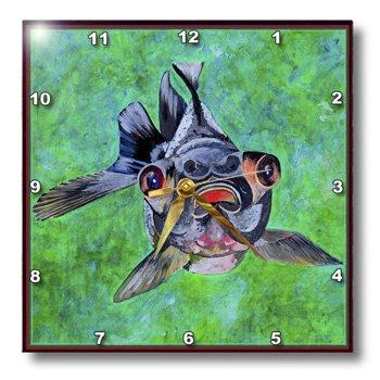 Dpp_48473_2 Taiche - Acrylic Painting - Blackmoor Goldfish - Blackmoor Goldfish- Blackmoor Goldfish, Telescope Goldfish, Goldfish, Dragon Eye Goldfish - Wall Clocks - 13X13 Wall Clock