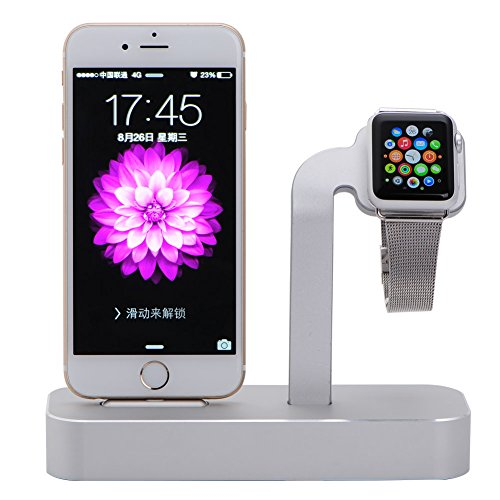 Apple Watch Stand, Teslasz 2 in 1 Premium Aluminum Charging Dock Station Stand Holder for Apple iWatch & iPhone(iPhone 5/ 5S/ 6/ 6 Plus, iWatch BASIC / SPORT / EDITION Model)-Silver