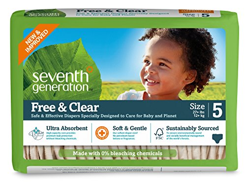 Seventh Generation Baby Diapers, Free and Clear for Sensitive Skin, Original Unprinted, Size 5, 115 Count (Chlorine Free Diapers 5 compare prices)