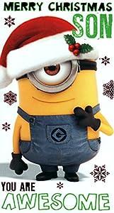 Despicable me minion merry christmas son card amazon co uk toys