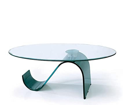 Coffee Table with S Shaped Black Curved Glass Base C22