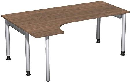 PC scrivania sinistra regolabile in altezza, Cornice, 1800x 1200x 680-820, noce/argento, mobili