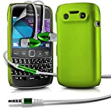 ( Green ) Blackberry Bold 9790 Hybrid Hard Back Shell Skin Case Cover With LCD Screen Protector Guard & Aluminium In Ear Earbud Stereo Hands Free Earphone with Built in Mic & On-Off Button
