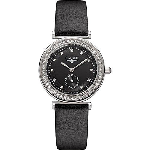 ELYSEE Maia Femme 30mm Bracelet Cuir Noir Boitier Acier Inoxydable Saphire Quartz Analogique Montre 44006
