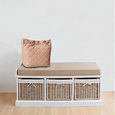 (BTM) Premium White Wicker Storage Bench /Sea Grass Baskets with 3 Sizes Storage Baskets and Cushion Seat, W104/ D44 /H54 (cm)