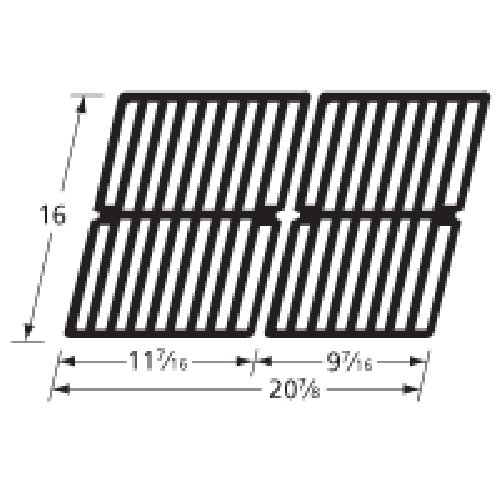 Music City Metals 63412 Gloss Cast Iron Cooking Grid Set Replacement for Gas Grill Models BBQ Tek SSS3416TB and Presidents Choice SSS3416TCS