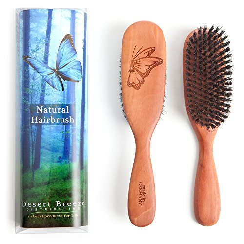 100% Pure Wild Boar Bristle Hair Brush, Model PW1, Stiff Natural Bristles, Best for Fine to Medium Hair Thickness, Pear Wood Handle, Premium Quality Hairbrush, Made in Germany (Natural Wood Hair Brush compare prices)