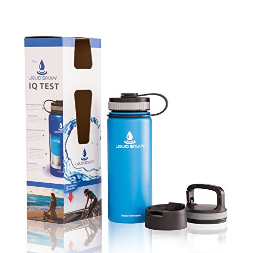 Liquid Savvy 18oz Insulated Water Bottle with 3 lids - Stainless Steel, Wide Mouth Double Walled Vacuum Insulated Bottle for Hot and Cold Beverages - Blue (Lukewarm Water compare prices)