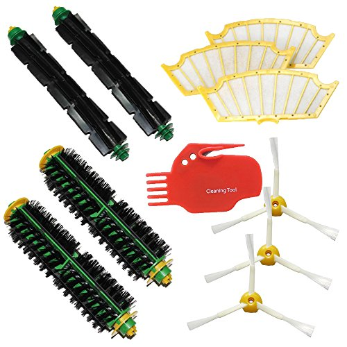Shp-Zone 2 Bristle Brushes & 2 Flexible Beater Brushes & 3 Side Brushes 3-Armed & 3 Filters & Cleaning Tool Pack Mega Kit For Irobot Roomba 500 Series Roomba 510, 530, 535, 540, 560, 570, 580, 610 Vacuum Cleaning Robots All Green, Red, Black Cleaning Head front-544078