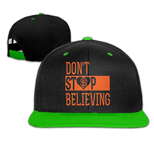 Show Time Don't Stop Believing SF Unisex Running Cap Snapback Flat Bill Hat KellyGreen