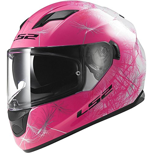LS2 Helmets Stream Wind Full Face Motorcycle Helmet with Sunshield (White/Pink, Small)