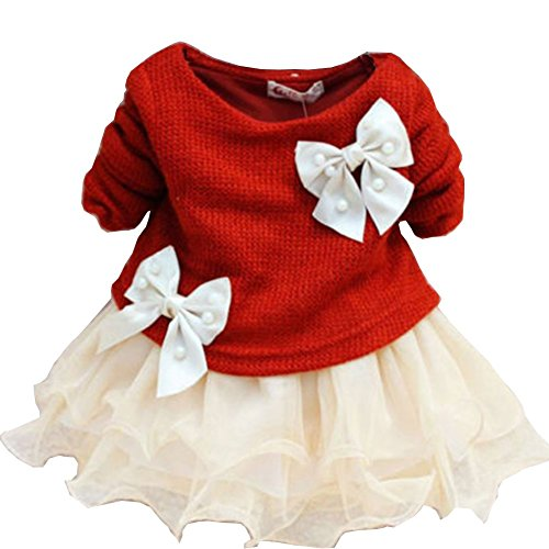 Juicart Baby Girls Dresses Long Sleeve Crochet Sweater Tops Lace Bowknot Tutu Clothing (3-6 Months, Red)